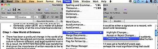 Microsoft Word for Mac Compare Document