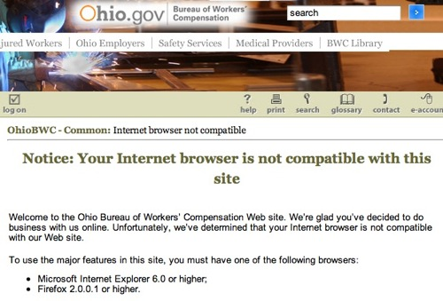 Ohio Bureau of Workers Compensation homepage