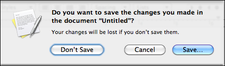 Document save dialog box for Mac OS X