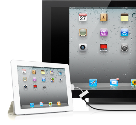 iPad 2 connected to external monitor
