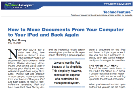 TechnoLawyer TechnoFeatures-How to Move Documents From Your Computer to Your iPad and Back Again