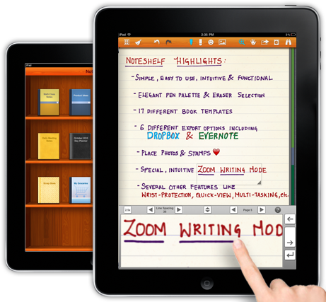 Noteshelf ipad using your finger to write on the iPad