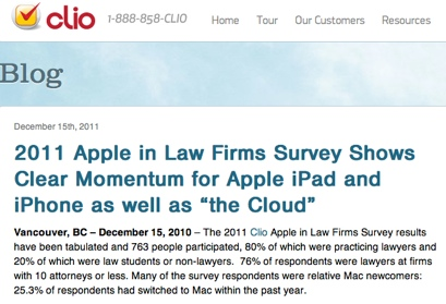 Clio 2011 Apple Law Firms Survey