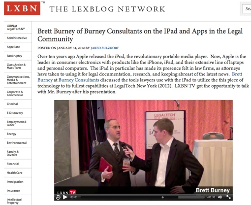 LXBN Interview Brett Burney of Burney Consultants on the iPad and Apps in the Legal Community