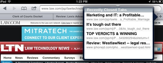 Recent Closed Tabs-10 Tips for Using Mobile Safari on an iPad