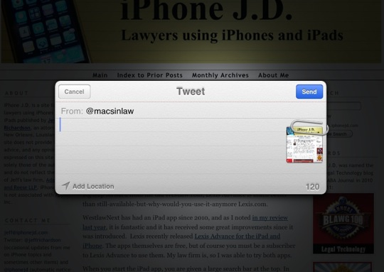 Tweet-10 Tips for Using Mobile Safari on an iPad