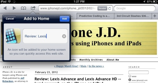 Add to Home Screen-10 Tips for Using Mobile Safari on an iPad