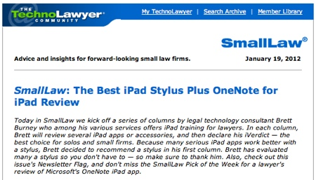 TechnoLawyer SmallLaw Brett Burney The Best iPad Stylus