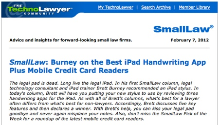 TechnoLawyer SmallLaw Brett Burney iPad Handwriting App