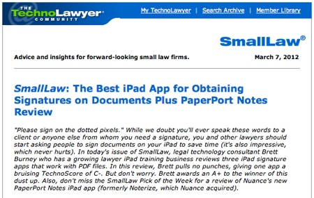 TechnoLawyer SmallLaw Brett Burney Best iPad Signature App