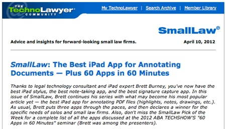 TechnoLawyer SmallLaw Brett Burney Best iPad App for Annotating Documents